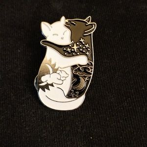 Hugging celestial cats pin. Yin and yang!